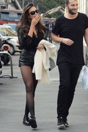 Madalina Ghenea out for a walk in Milan