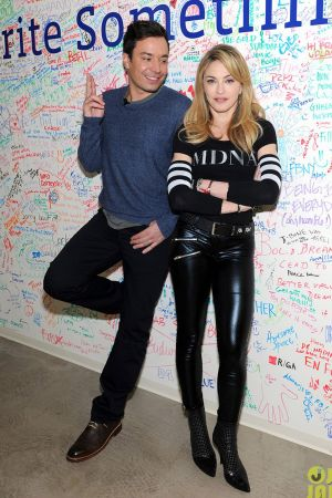 Madonna with Jimmy Fallon at the Facebook wall in NYC