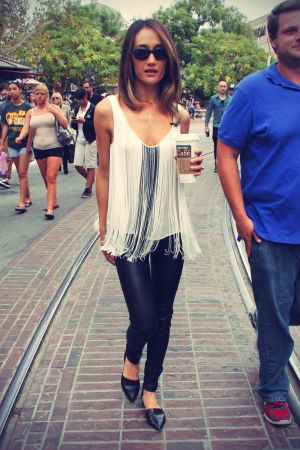 Maggie Q TV show Extra for interviews at The Grove in LA