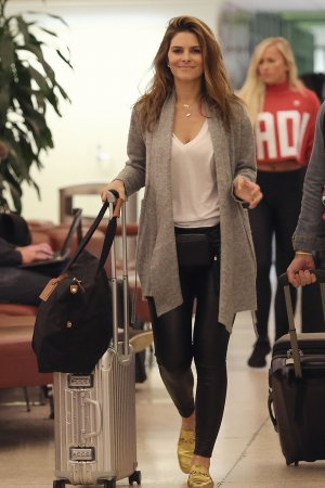 Maria Menounos arrives at Louis Armstrong International Airport