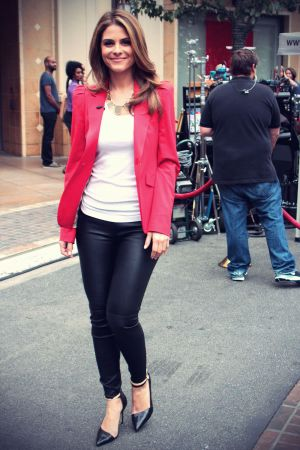 Maria Menounos on set of Extra at the Grove