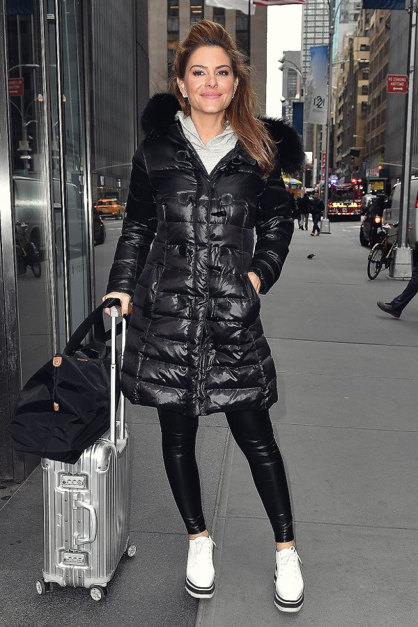 Maria Menounos seen rolling luggage in NYC