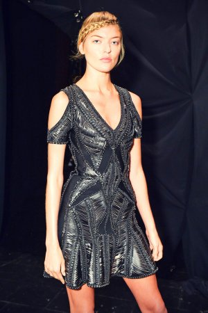Martha Hunt attends Herve Leger by Max Azria SS2016