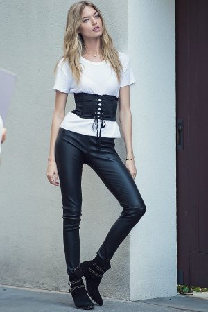 Martha Hunt is seen during a photoshoot