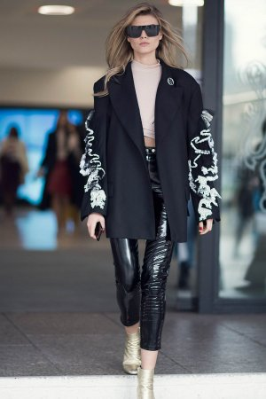 Maryna Lynchuk seen during the London Fashion Week