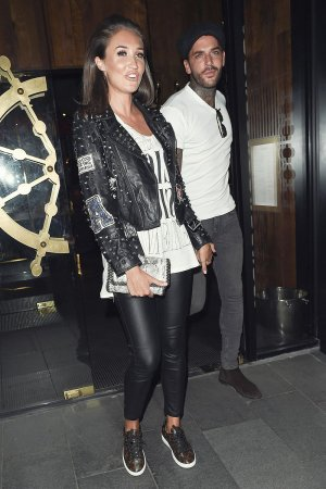 Megan McKenna leaving Tattu Restaurant