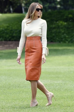 Melania Trump departing the White House