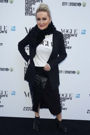 Melissa Hoyer poses during Vogue American Express Fashion's Night Out