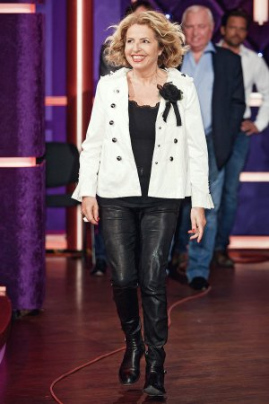 Michaela May attends MDR Talkshow Riverboat