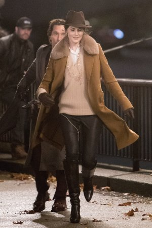 Michelle Dockery filing scenes on the banks of the Thames Southbank