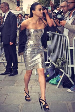 Michelle Rodriguez attends Jean Paul Gaultier show