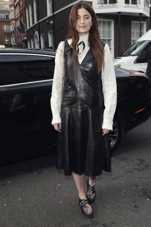 Millie Brady attends Mulberry show