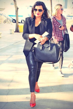 Mindy Kaling arriving at the Staples Center