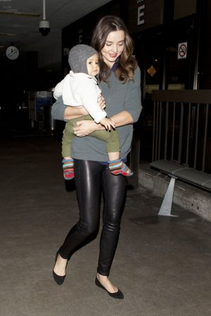 Miranda Kerr & her son arriving at LAX Airport