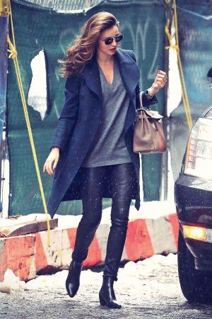 Miranda Kerr leaving Bloom's house in leather pants
