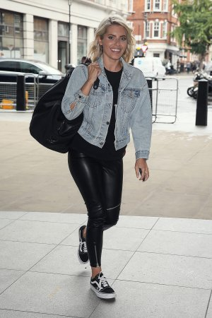 Mollie King seen rushing to the BBC Radio One Studios
