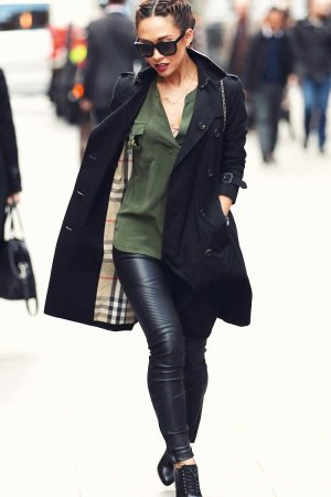 Myleene Klass arriving at Global Radio