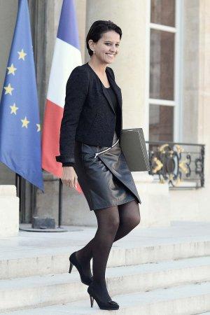 Najat Vallaud-Belkacem walks out of the Elysee presidential palace