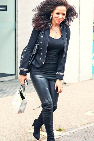 Natalie Gumede seen leaving the ITV studios