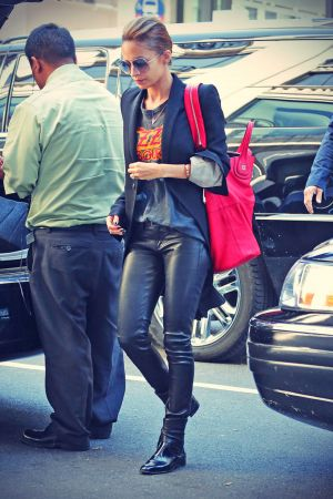 Nicole Richie seen wearing leather pants while leaving her hotel