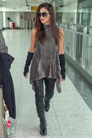 Nicole Scherzinger seen at Heathrow Airport
