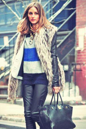 Olivia Palermo leather mix