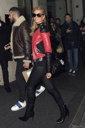 Paris Hilton leaves The Mayfair Hotel