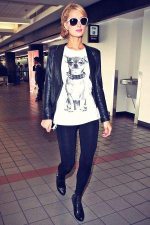 Paris Hilton walking through LAX airport