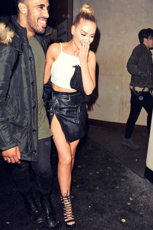 Perrie Edwards outside Drama Nightclub