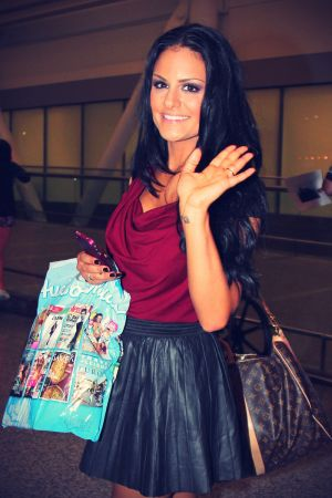 Pia Toscano arrives at the Toronto Pearson International Airport