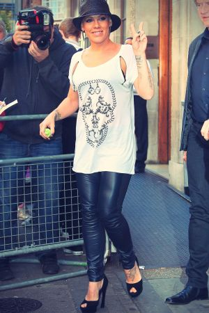 Pink outside the BBC Radio One studios