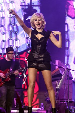 Pixie Lott performing at Jingle Bell Ball at O2 Arena in London
