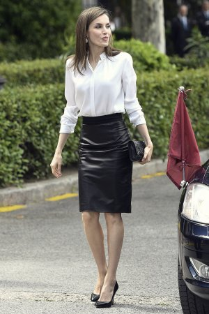Queen Letizia of Spain at the opening exhibition of the National Library