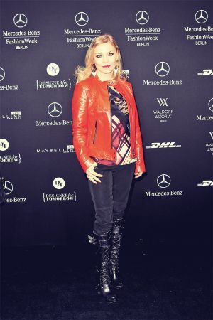 Regina Halmich attends Mercedes Benz Fashion Week 2013 Berlin