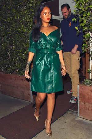 Rihanna is spotted leaving dinner at Giorgio Baldi