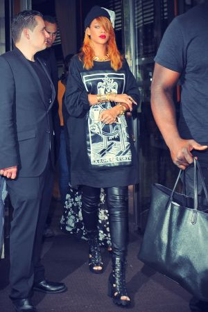 Rihanna keeps it low key as she leaves her hotel