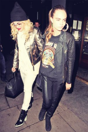 Rita Ora and Cara Delevingne leaving Groucho Club
