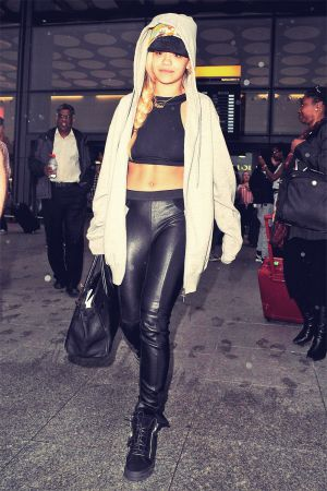 Rita Ora arrives at Heathrow Airport from Malta