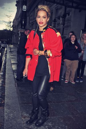 Rita Ora arrives at set of music video shoot
