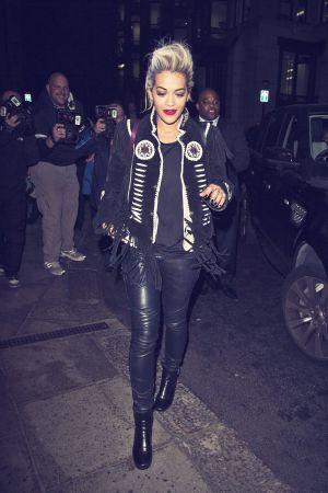 Rita Ora arrives at The Dorchester Hotel