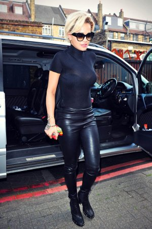 Rita Ora arriving and leaving a studio in London