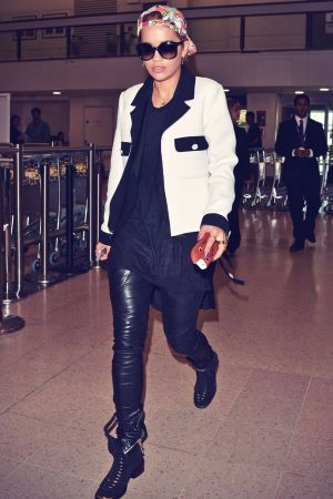 Rita Ora arriving at Heathrow airport
