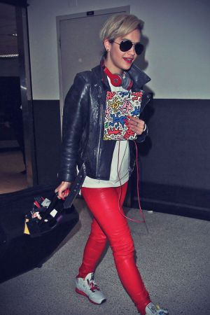 Rita Ora arriving on a flight at LAX Airport