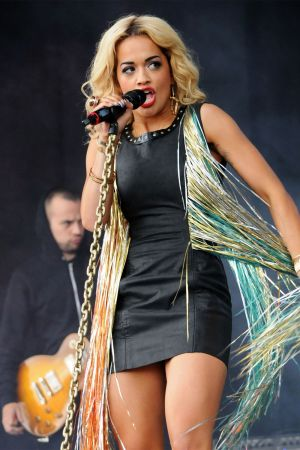 Rita Ora leather dress