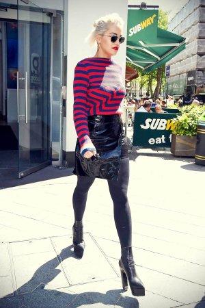 Rita Ora leaving Capital FM studios in London