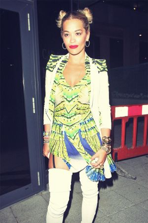 Rita Ora leaving Le Baron Club in London