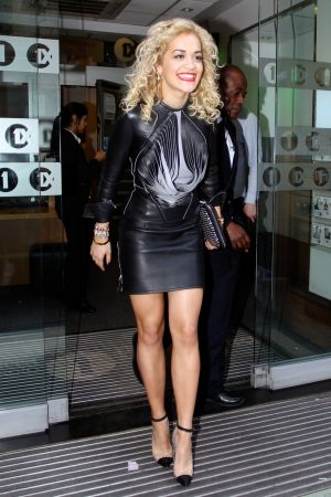 Rita Ora visits Percy and Reed hairdressers