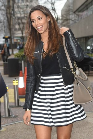 Rochelle Humes is pictured leaving the ITV studios
