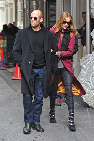 Rosie Huntington-Whiteley and Jason Statham out and about in Soho