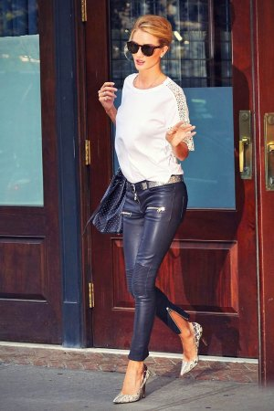 Rosie Huntington-Whiteley is seen stepping out in NYC